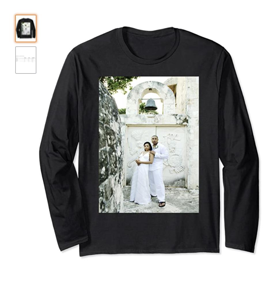 Long Tee - Hall Wedding Aztec Church Print Long Sleeve T-Shirt
